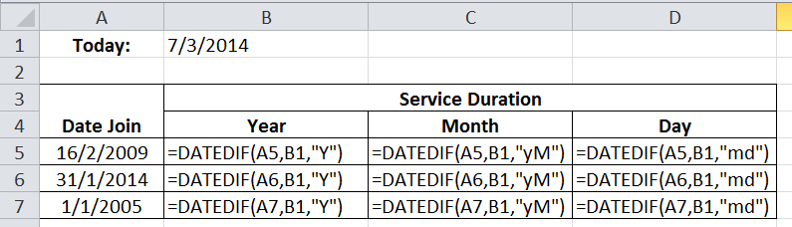 Excel Tutorial | Calculate the length of services of